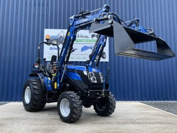 Front View of Blue Solid Compact Tractor