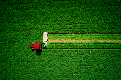 tractor from drone view