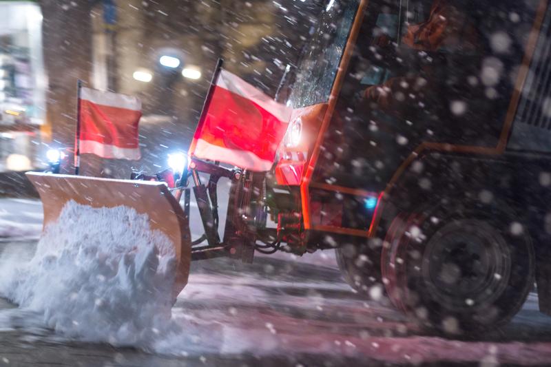 snowplough ploughing snow