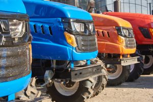 row of small tractors