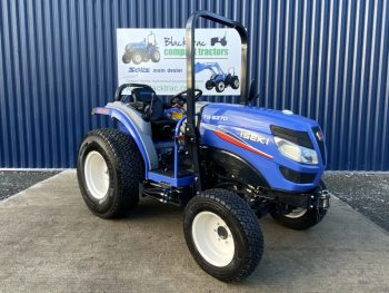 Front Side Profile of Blue Iseki Compact Tractor