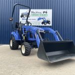 Front view of Iseki TXSG24 Compact Tractor with Loader & Bucket