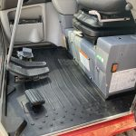 Inside cab of Takeuchi TB240 Mini Digger