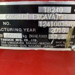 Serial plate of Takeuchi TB240 Mini Digger